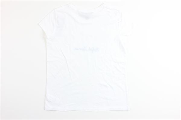 t-shirt mezza manica tinta unita con stampa RALPH LAUREN | T-shirts | 313783971001BIANCO