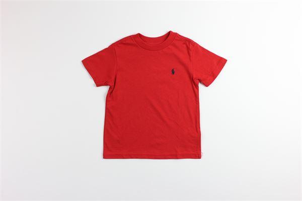 t-shirt basic tinta unita mezza manica con stampa RALPH LAUREN   T-shirts   321674984004ROSSO