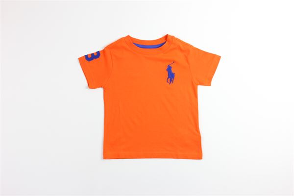 t-shirt mezza manica tinta unita con stampa logo RALPH LAUREN   T-shirts   321703646010ARANCIO