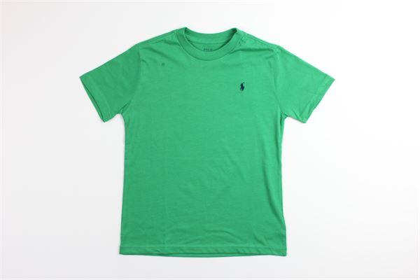 t-shirt mezza manica tinta unita con stampa logo RALPH LAUREN | T-shirts | 322703638054VERDE