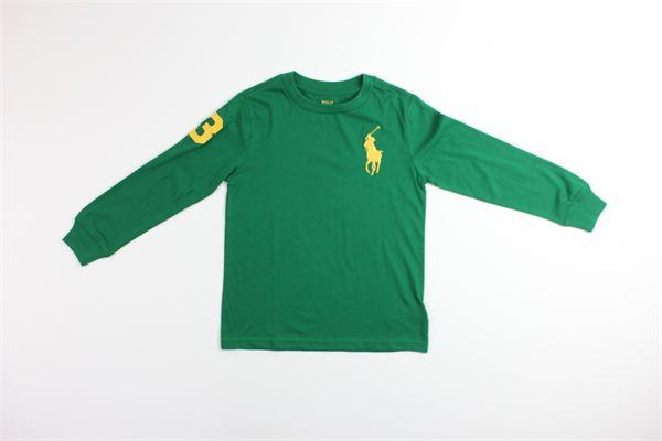 shirt mezza manica tinta unita con stampa logo RALPH LAUREN   Shirts   322770183004VERDE