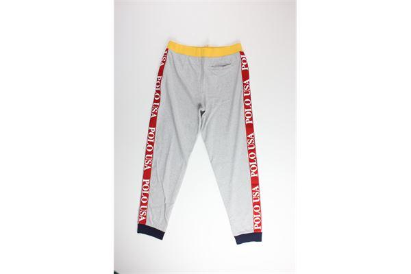 pantalone in felpa tinta unita con profili in contrasto RALPH LAUREN   Pantaloni   323760734001GRIGIO
