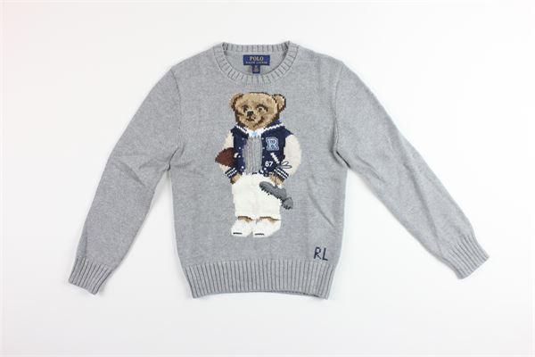 maglione tinta unita con stampa RALPH LAUREN | Maglie | 323787071001GRIGIO
