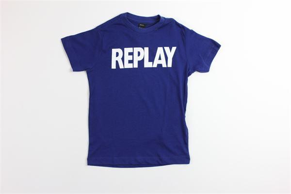 t-shirt tinta unita con stampa REPLAY | T-shirts | SB7308BLU