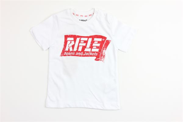 t-shirt tinta unita con stampa RIFLE | T-shirts | 8838494800BIANCO