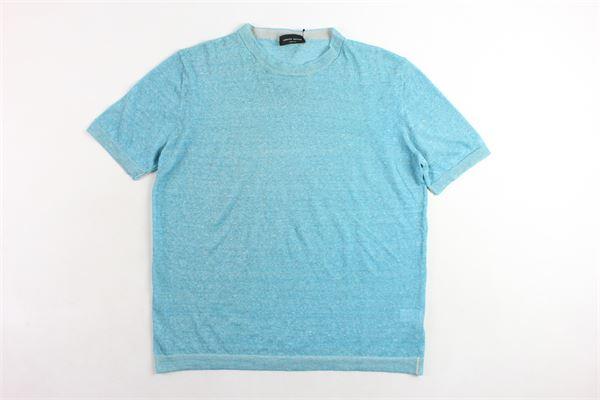 t-shirt in lino girocollo tinta unita mezza manica profili in contrasto ROBERTO COLLINA | T-shirts | RA42021AZZURRO
