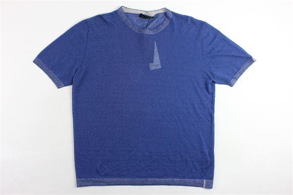 t-shirt in lino girocollo tinta unita mezza manica profili in contrasto ROBERTO COLLINA | T-shirts | RA42021BLU