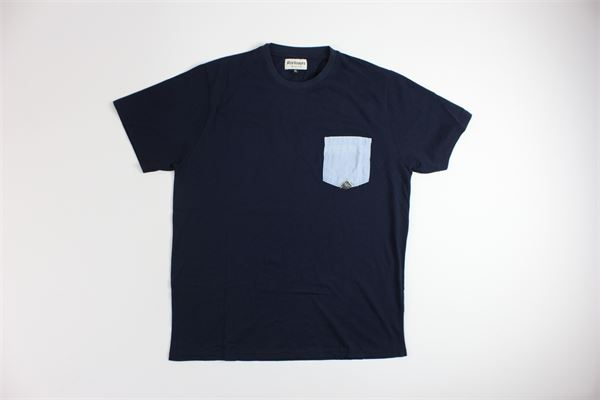 t-shirt mezza manica tinta unita  con taschino in contrasto ROY ROGER'S | T-shirts | 5939BLU