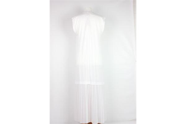 abito lungo tinta unita con plissè SEMICOUTURE | Abiti | H17BIANCO