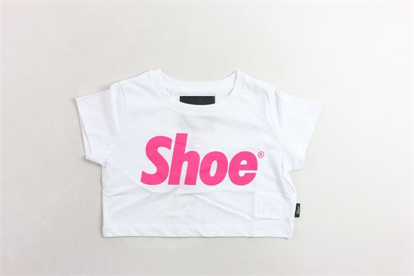 t-shirt mezza manica corta con stampa logo SHOE | T-shirts | TRISHJ0140BIANCA/ROSA