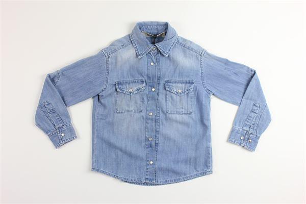 camicia in denim manica lunga tinta unita con tasconi SIVIGLIA | Camicie | SVJSH3543BLU
