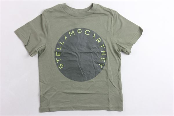 t-shirt mezza manica tinta unita con stampa STELLA McCARTNEY | T-shirts | 539756SMJ08VERDE MILITARE