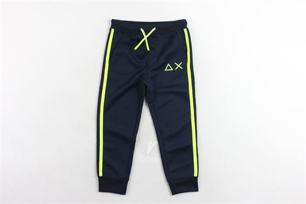 pantalone tuta garzata tinta unita con profili in cotrasto SUN68 | Pantaloni | F30329BLU