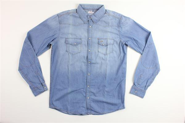 camicia in denim manica lunga con taschino SUN68 | Camicie | S19308CELESTE