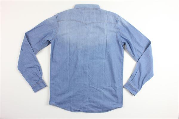 camicia in denim manica lunga con taschino SUN68   Camicie   S19308CELESTE