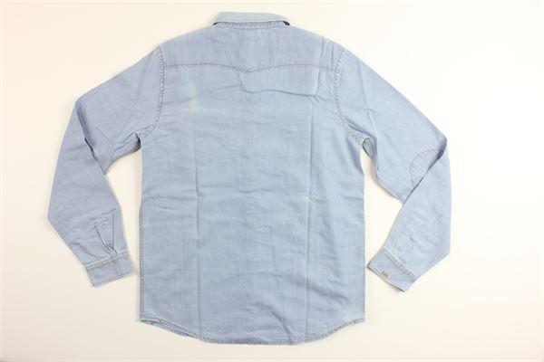 camicia in denim manica lunga con taschino SUN68 | Camicie | S28307CELESTE