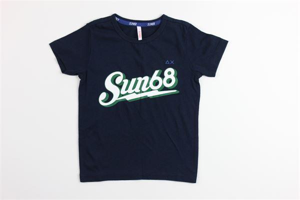 t-shirt mezza manica tinta unita con stampa SUN68 | T-shirts | T30305BLU