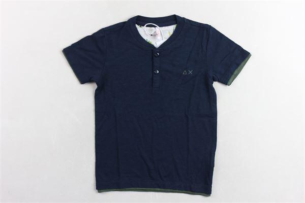 t-shirt mezza manica tinta unita  con bottoni SUN68 | T-shirts | T30310BLU
