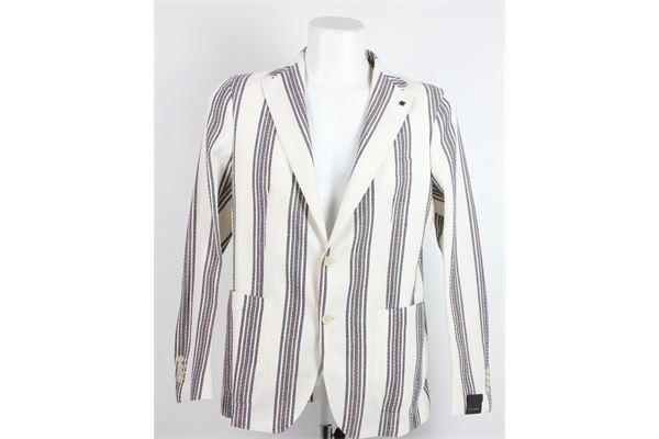 giacca tinta unita con fantasia a righe 72%cotone 28%lino TAGLIATORE   Giacche   2156BEIGE