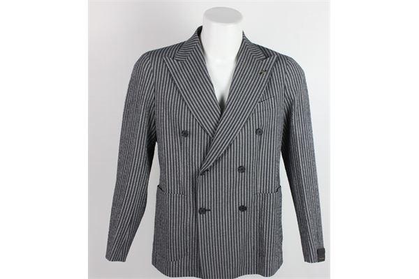 giacca doppio petto fantasia a righe TAGLIATORE   Giacche   2961GRIGIO