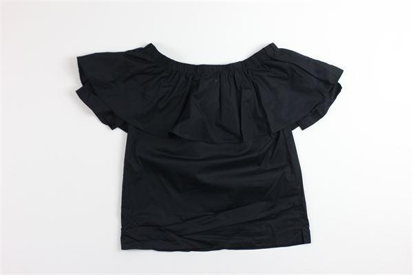 t-shirt tinta unita con rouches TWINSET | T-shirts | 191GJ2411NERO