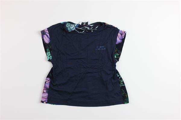 t-shirt tinta unita cin stampa brillantini VERSACE | T-shirts | YVFTS194BLU