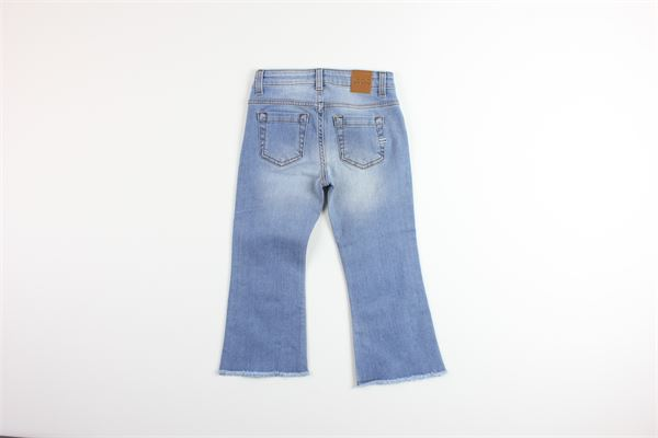 jeans a zampa tinta unita in denim girovita regolabile VICOLO | Jeans | 3146D0137BLU