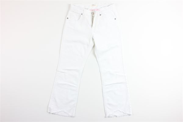 jeans a zampa tinta unita in denim girovita regolabile VICOLO | Jeans | D0146BIANCO