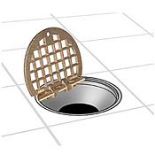 "FMP 102-1152 Hinged 5"" Round Floor Drain Grate - Drain and Sink Accessories"