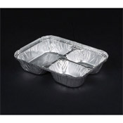 Durable Packaging 3-Comp Oblong Aluminum Containers w/Foil Board Lids - Condiment Servers