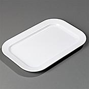 """Carlisle Melamine 15-1/2"""" x 10-1/2"""" White Oblong Platters - Servingware"""