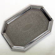 "Carlisle Octagonal 17.13""x11-3/4"" Tray with Beaded Border - Servingware"