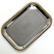 Carlisle 608908 Rectangular Tray with Gold Border - Servingware