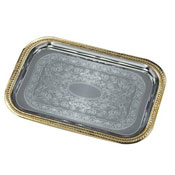 Carlisle 608909 Rectangular Tray with Gold Border - Servingware