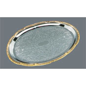 Carlisle 608913 Oval Tray with Gold Border - Servingware