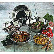 Carlisle 96 oz Stainless Steel Balti Dishes - Servingware