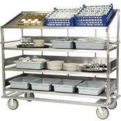 Lakeside Dish Breakdown Cart with 3 Flat, 1 Angled  - Lakeside