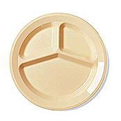 "Cambro Round 3-Compartment Narrow Rim 9"" Plates - Dinner Plates"