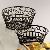 "American Metalcraft Scroll, 9"" Dia. Round Bread Basket - American Metalcraft"