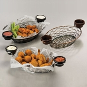 "American Metalcraft Black 11"" Birdnest Basket with Ramekin Holder - American Metalcraft"