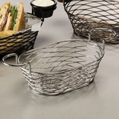 "American Metalcraft Chrome 9"" Birdnest Basket with Ramekin Holder - American Metalcraft"