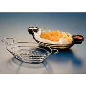 "American Metalcraft Black 11"" Wire Basket with Ramekin Holder - American Metalcraft"