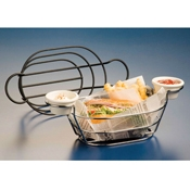"American Metalcraft Black 6"" Wire Basket with Ramekin Holder - American Metalcraft"