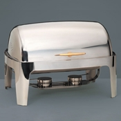 American Metalcraft Adagio Chafer with Gold Handle - American Metalcraft