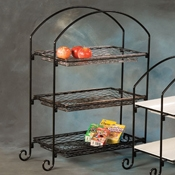 American Metalcraft Wrought Iron 3-Tier Stand Rectangle w/Curled Feet - Display Risers