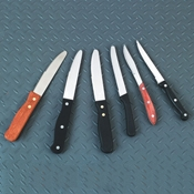 "American Metalcraft 9"" Black Plastic Handle Rounded Tip Knife - Steak Knives"