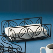 American Metalcraft Napkin Basket with Leaf Pattern Rectangle - American Metalcraft