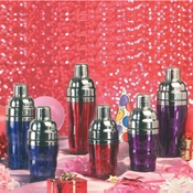 American Metalcraft 10 oz. Purple SS/Acrylic Cocktail Shaker - Cocktail Shakers