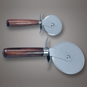 "American Metalcraft 2-1/2"" Pizza Cutter with Wood Handle - Pizza Supplies"
