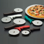 "American Metalcraft 4"" Wheel w/White Handle Pizza Cutter - Pizza Supplies"